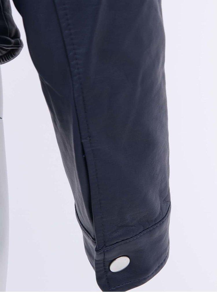Tmavomodrá koženková bunda VERO MODA Irina