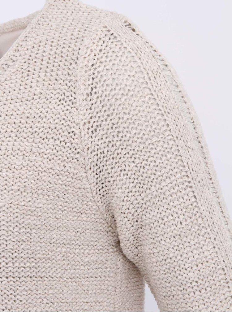 Béžový svetr s prodlouženými zády VERO MODA Remona