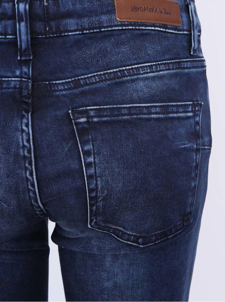 VERO MODA Flash Blugi Skinny Albastru Închis cu Accente la Fermoar