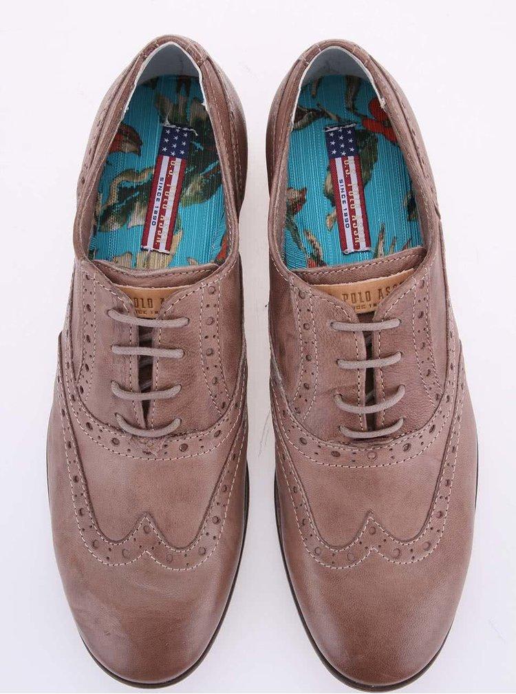 Béžové dámské kožené polobotky U.S. Polo Assn. Lauryn
