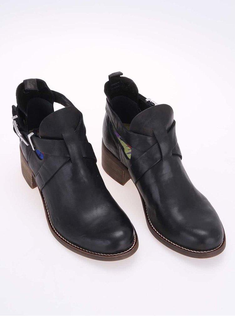 Černé kožené kotníkové boty U.S. Polo Assn. Leona
