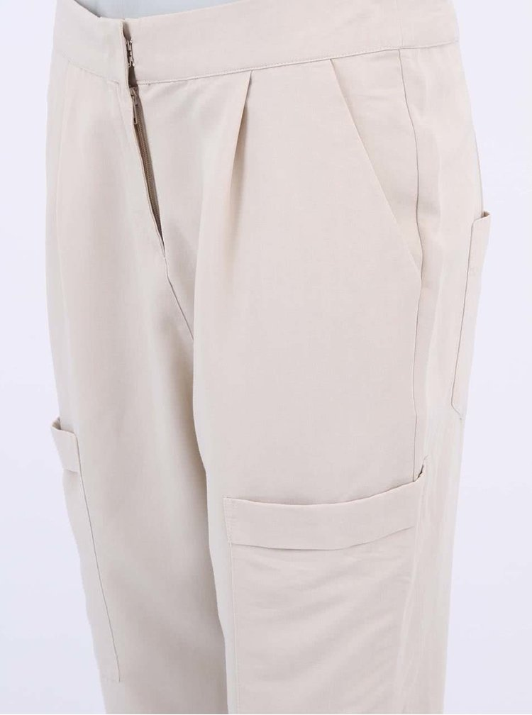 Béžové kapsáčové nohavice VERO MODA Indi
