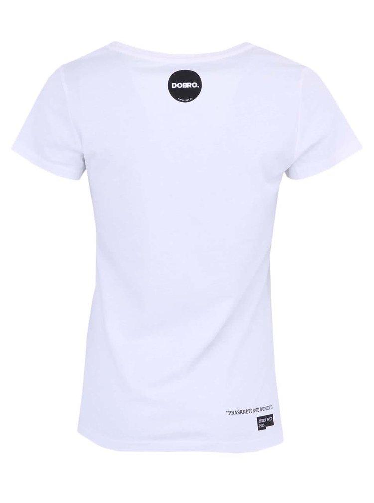 """""""Dobré"""" biele dámske tričko s vreckom Jeden svět"""