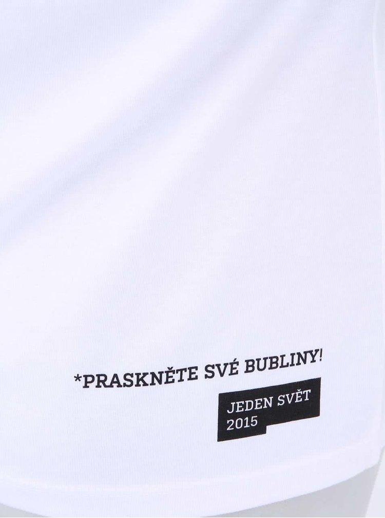 """""""Dobré"""" bílé dámské tričko s potiskem Jeden svět"""