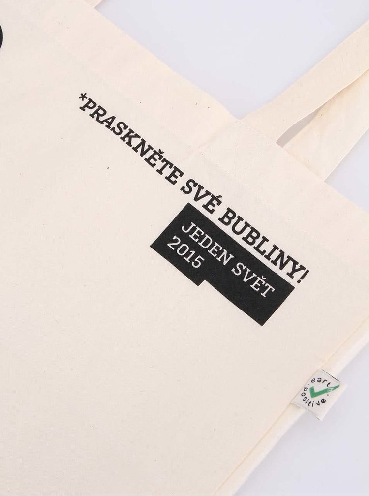 """""""Dobrá"""" krémová taška s potiskem pro Jeden svět"""