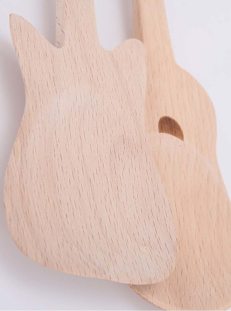 Drevená súprava šalátových lyžíc Kikkerland Gitara