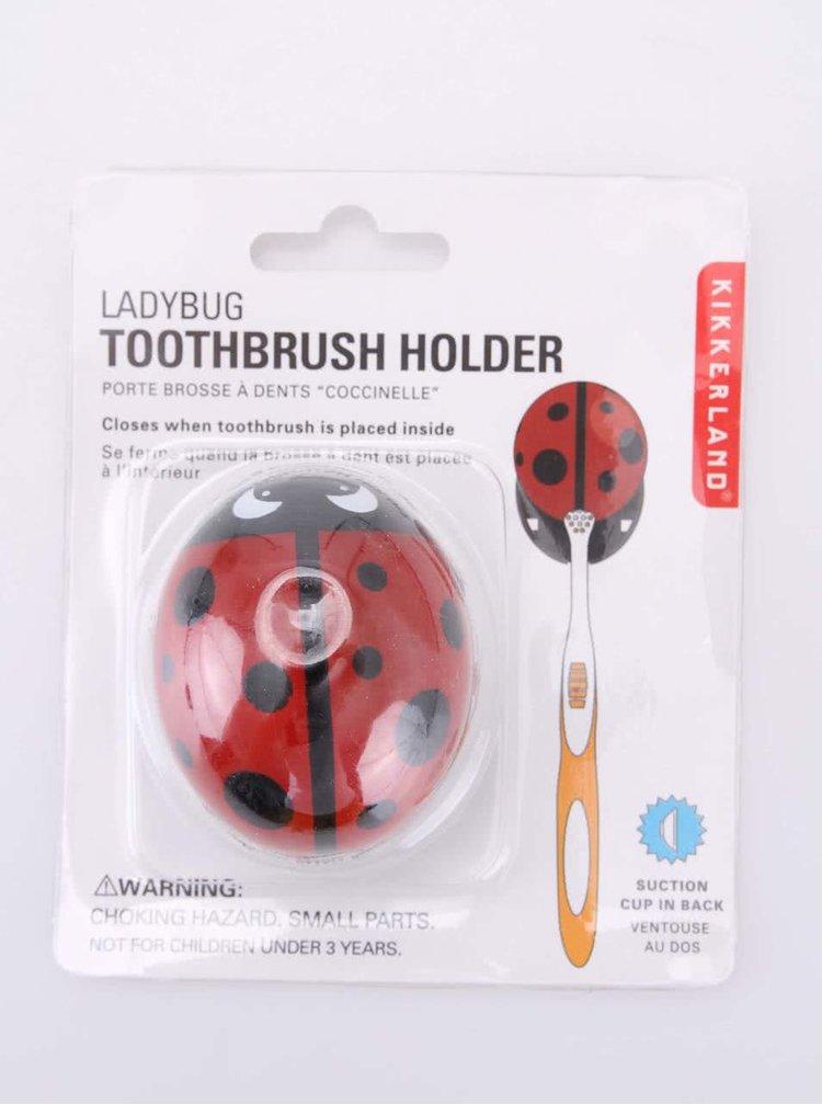 Suport pentru periuțe de dinți sub formă de buburuză roșie KIKKERLAND