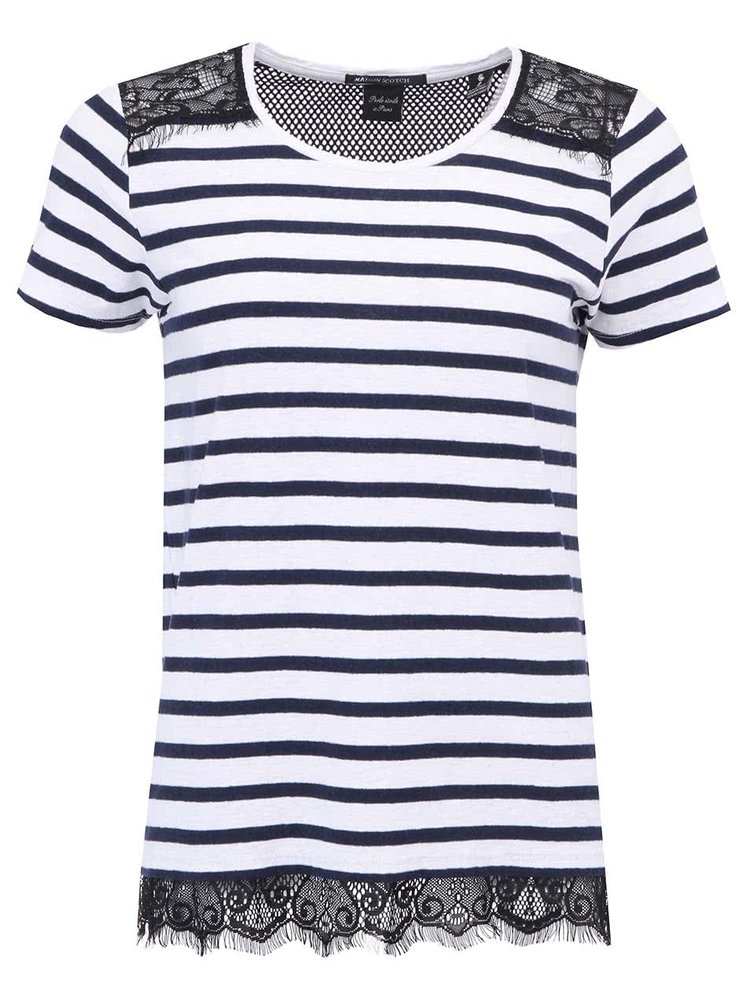 Modro-bílé pruhované tričko s černou krajkou Scotch & Soda