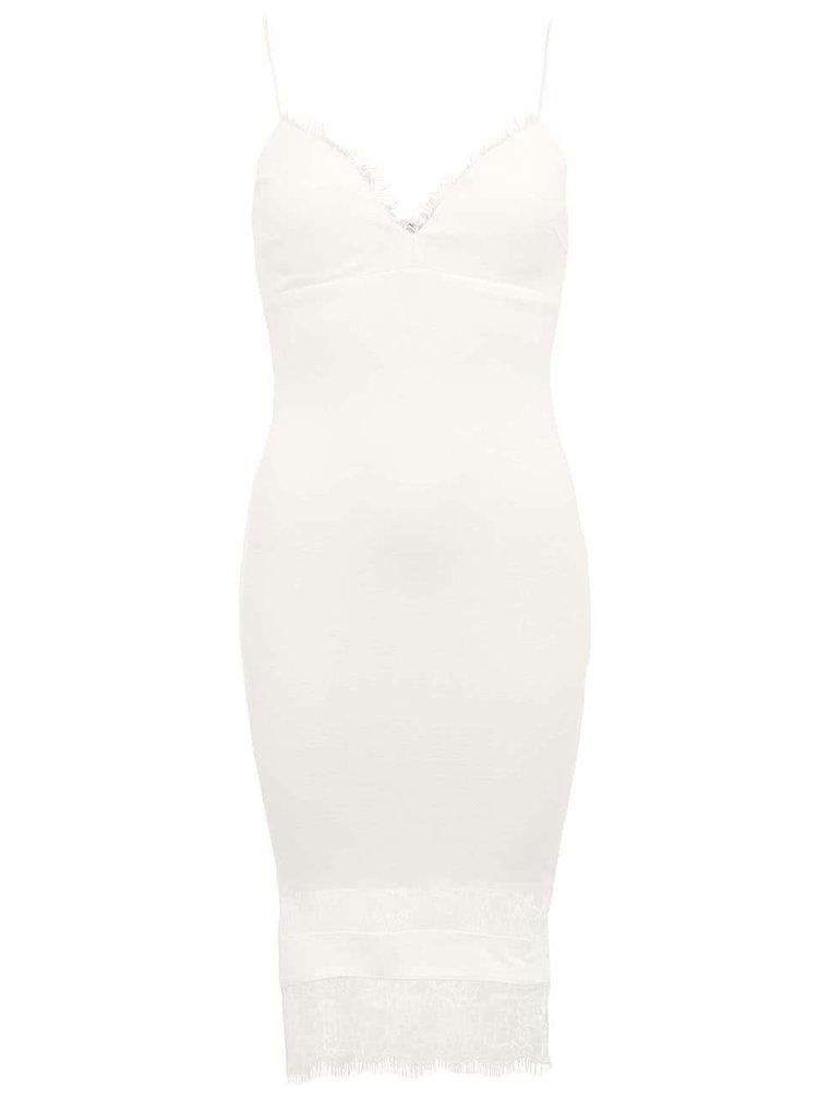 Biele šaty zdobené čipkou Ax Paris  96e8f2188db
