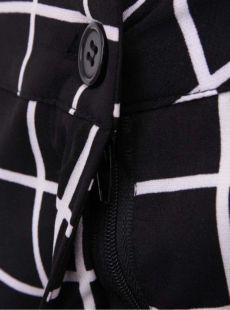 Čierne kockované nohavice s vysokým pásom AX Paris