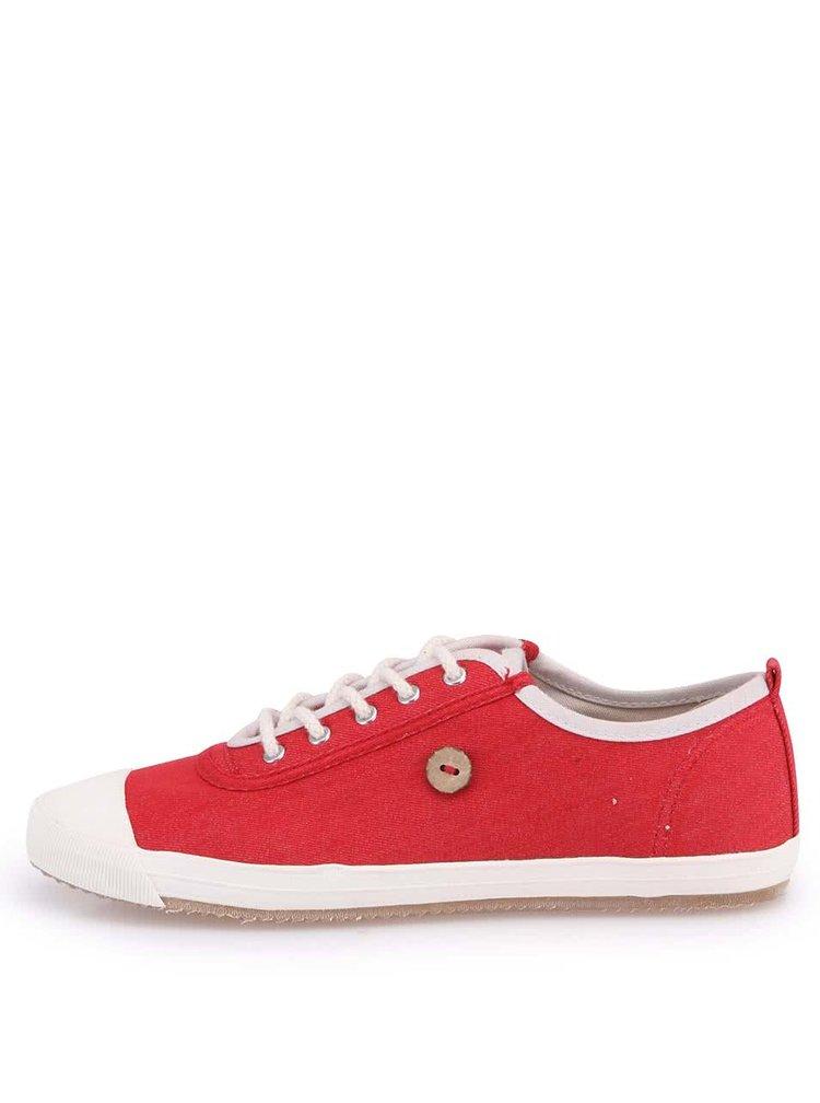 Červené dámske tenisky s bielou špičkou Faguo Oak