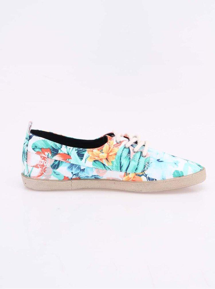 Bílé dámské plátěné tenisky s květinovým potiskem Faguo Fig
