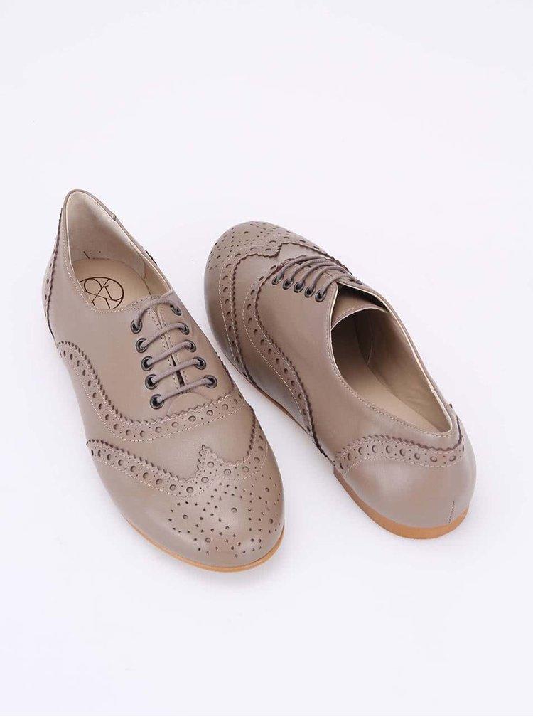 Pantofi brogue din piele bej OJJU