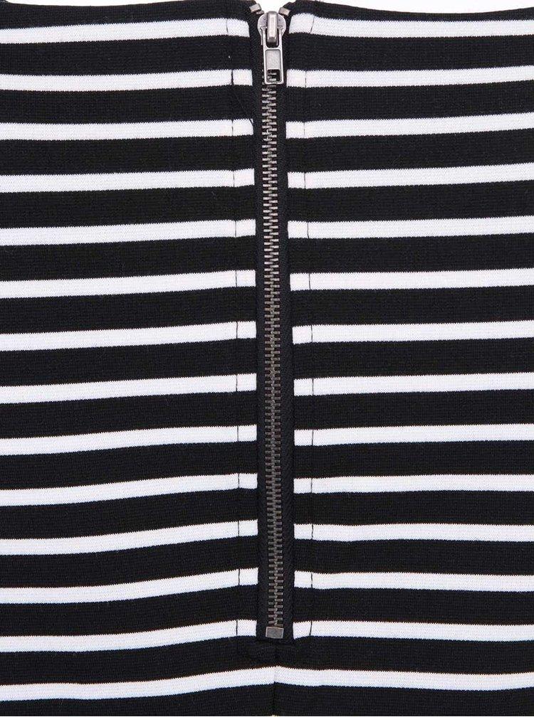 Čierne prúžkované šaty s 3/4 rukávom ONLY Emma II.