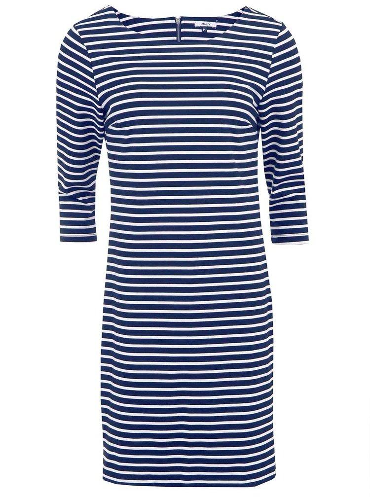 Modré pruhované šaty s 3/4 rukávem ONLY Emma II.