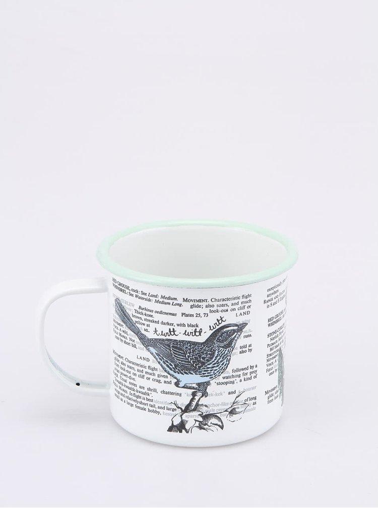 Cană de metal, culoare albă, Land Birds de la Thoughtful Gardener