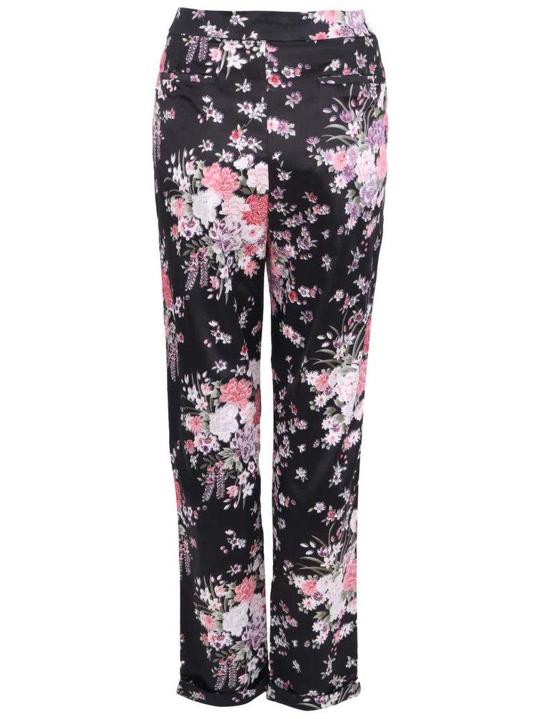 Pantaloni negri in stil japonez cu model floral de la Apricot