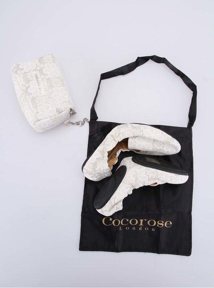 Balerini cu decorațiuni, crem, model Carnaby de la Cocorose London
