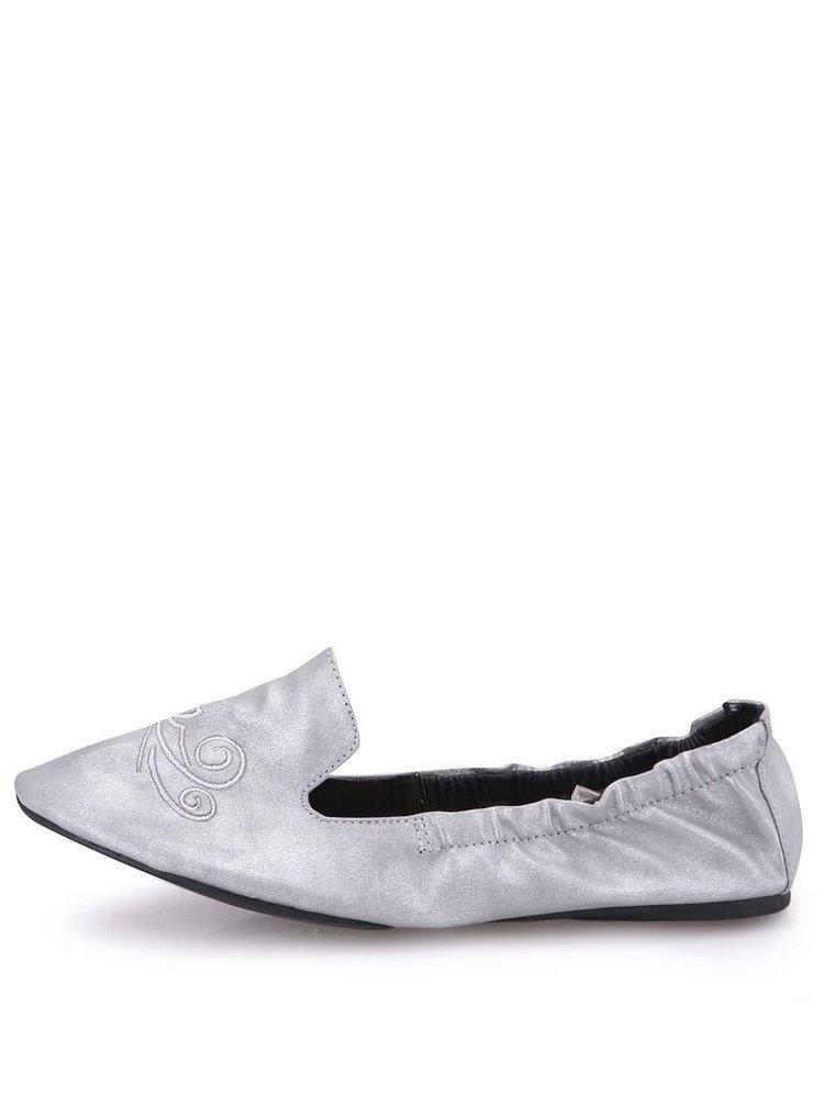 Balerini Carnaby argintii pliabili cu formă nautică de a Cocorose London