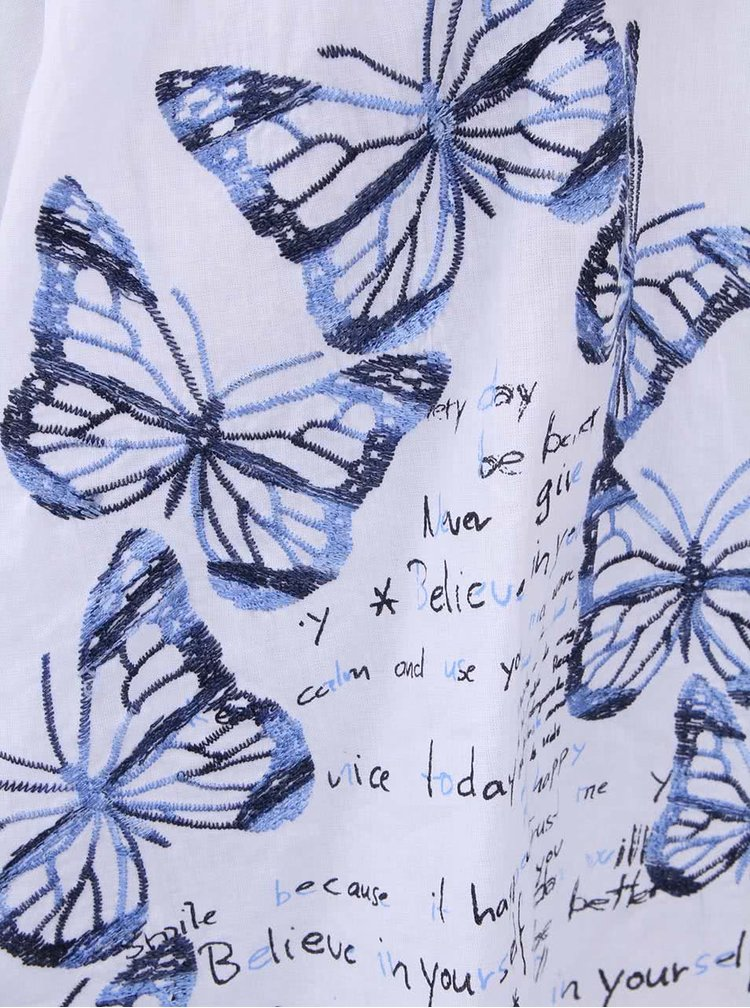 Biela sukňa s vyšitými motýlikmi Desigual Capricornio