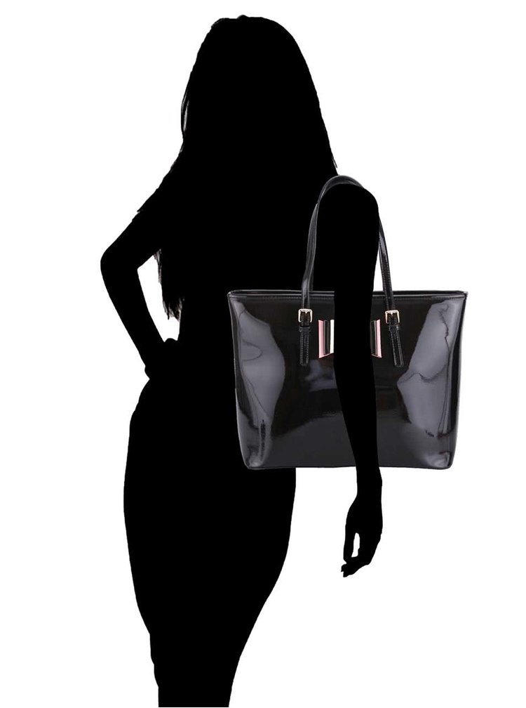 Geantă LYDC neagră cu fundă decorativă