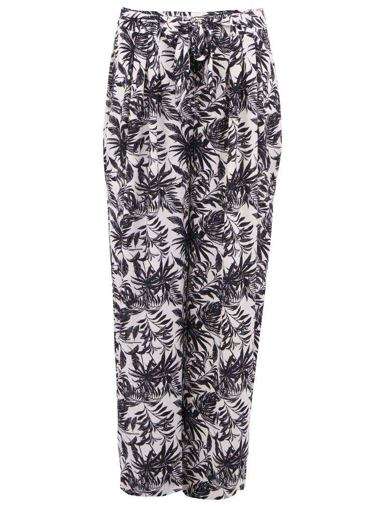 Pantaloni VERO MODA Nia crem cu negru cu motiv tropical