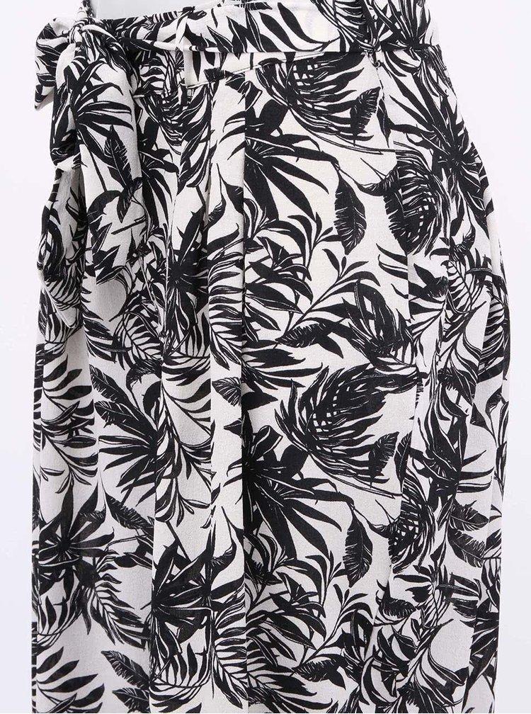 Krémovo-černé kalhoty s tropickými motivy VERO MODA Nia