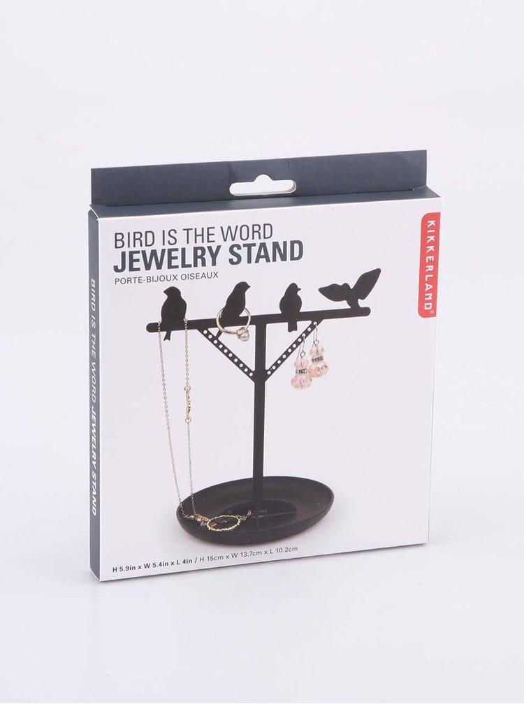 Stojan na šperky v černé barvě s ptáčky Kikkerland Bird