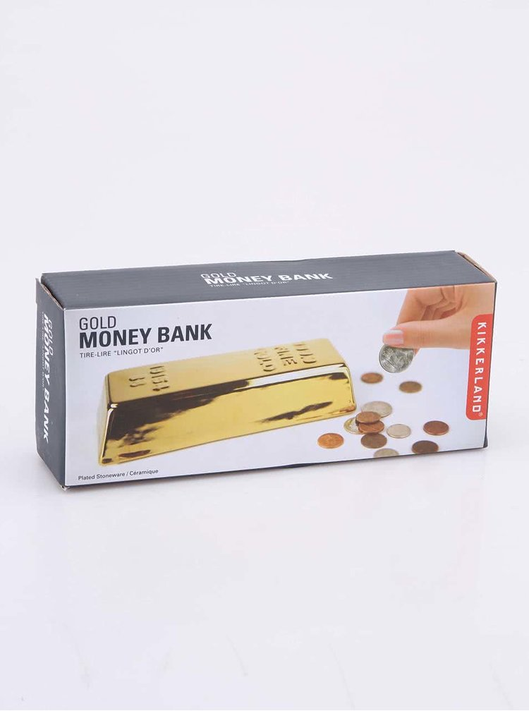 Pokladnička na mince ve zlaté barvě ve tvaru cihly Kikkerland Coin