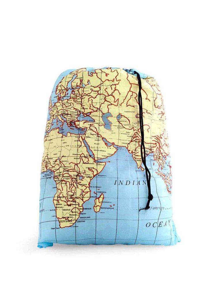 Modrý cestovní pytel na prádlo Kikkerland Mapa