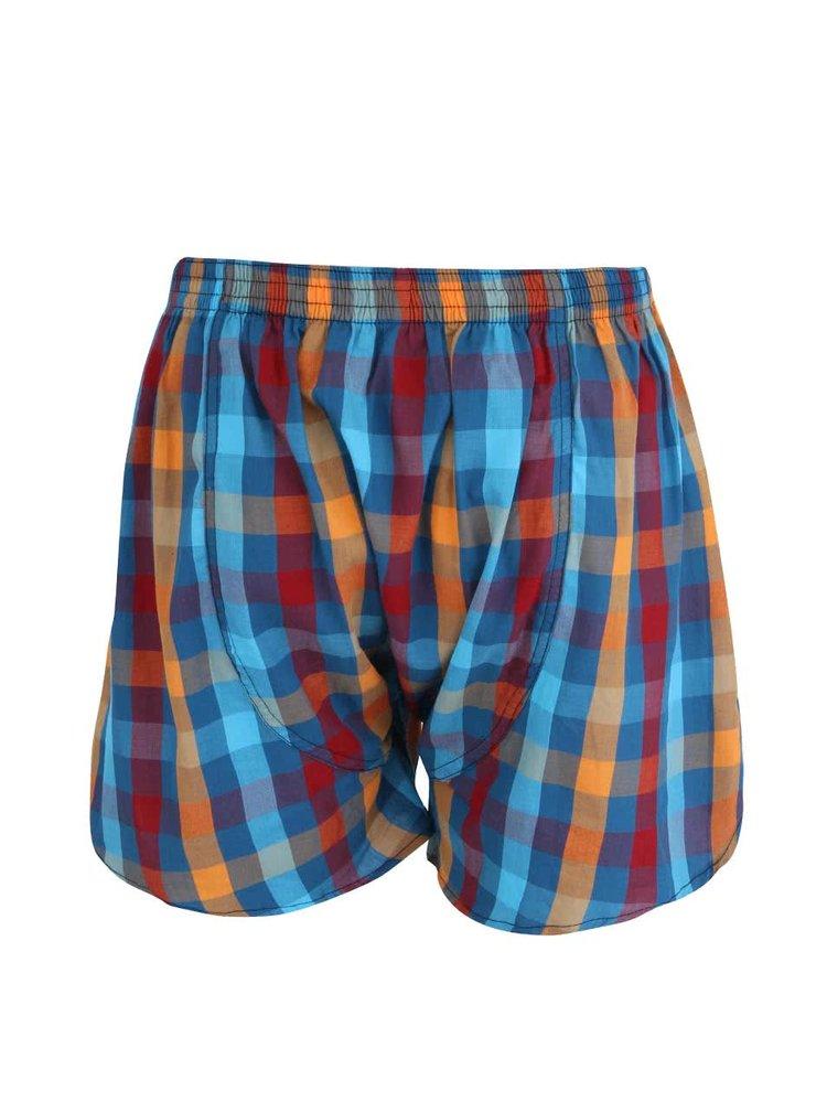 Pantaloni scurți albaștri Horsfeathers Sin din bumbac cu model în carouri