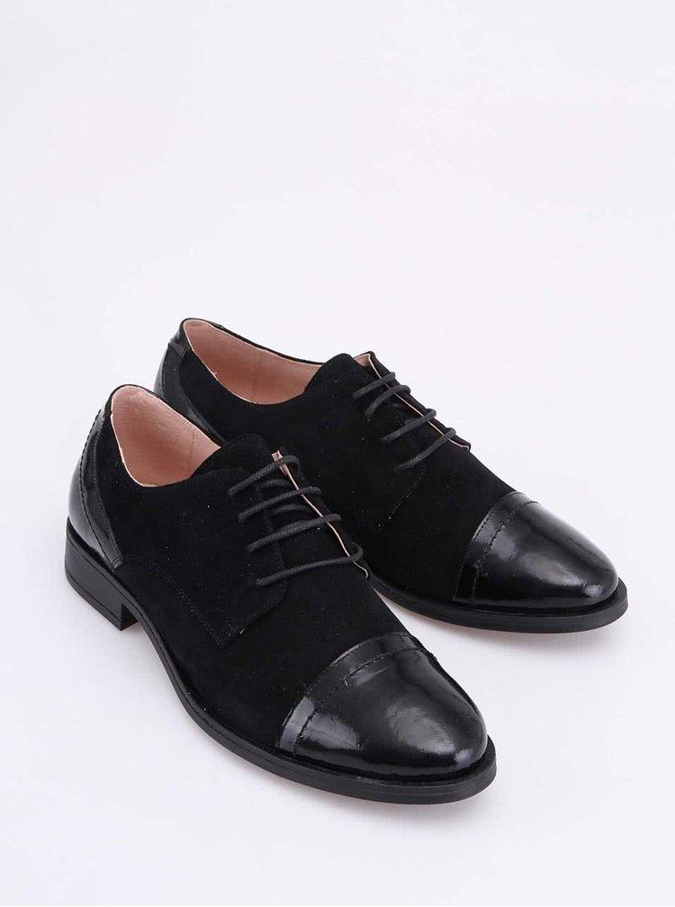 Pantof tip Oxford din piele neagră cu vârf din lac OJJU
