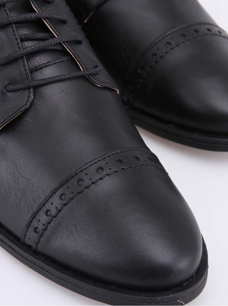 Černé kožené brogue polobotky na nízkém podpatku OJJU