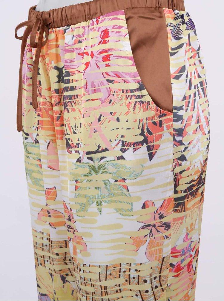 Žluté dámské letní kalhoty s květinovým potiskem Lavand