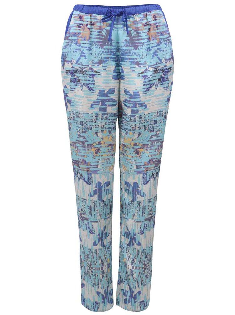 Modré dámské letní kalhoty s květinovým potiskem Lavand