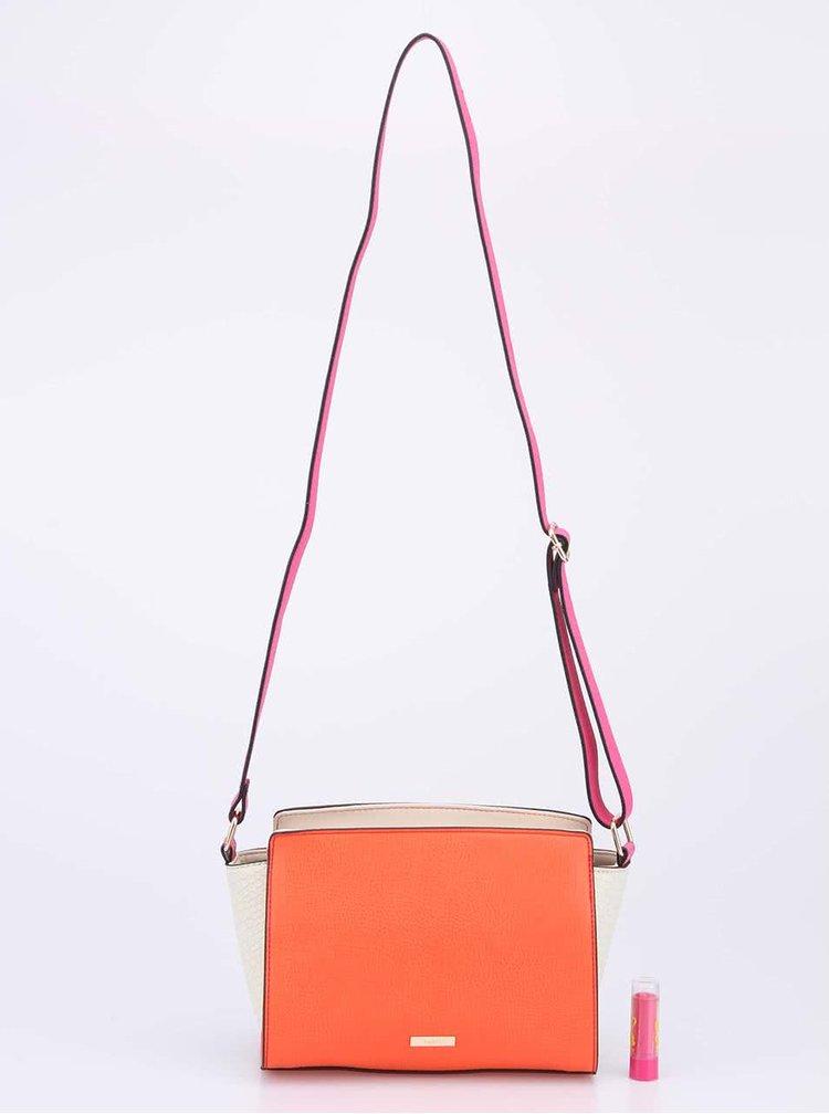 Růžovo-korálová menší kabelka s hadím vzorem přes rameno ALDO Deardurff