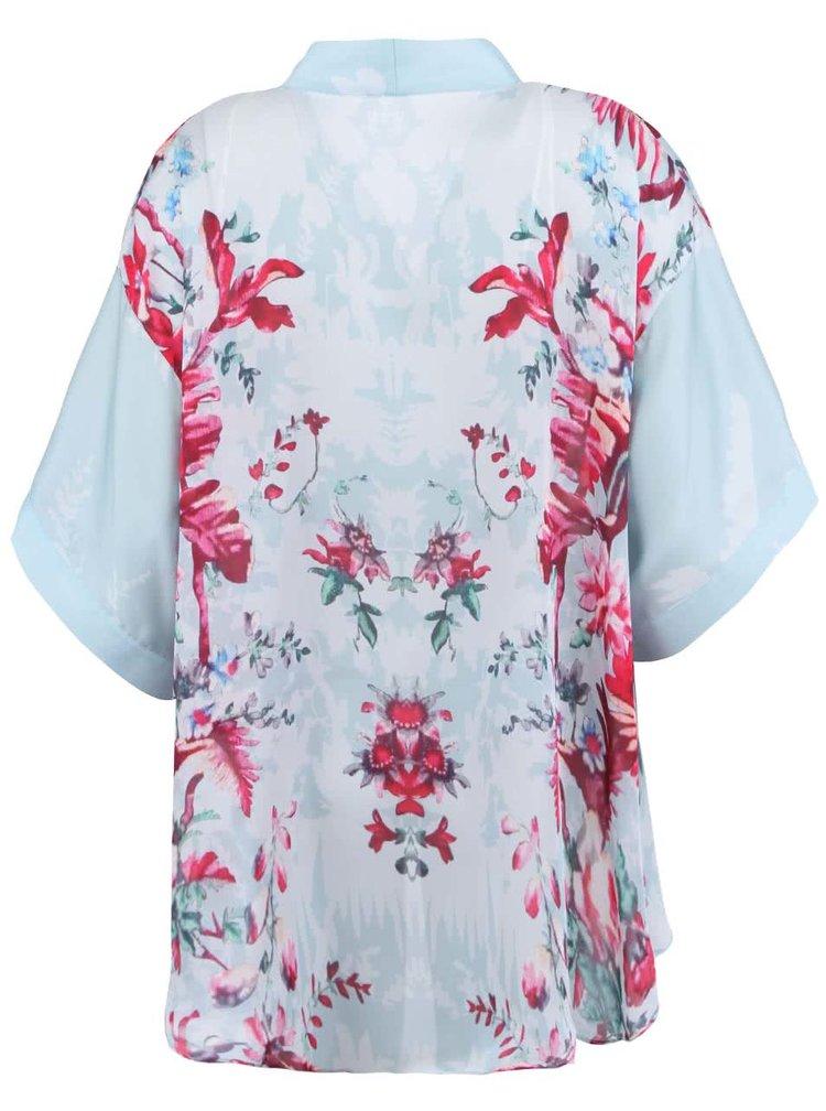 Světlé zelenomodré dámské kimono s květinovým potiskem Lavand