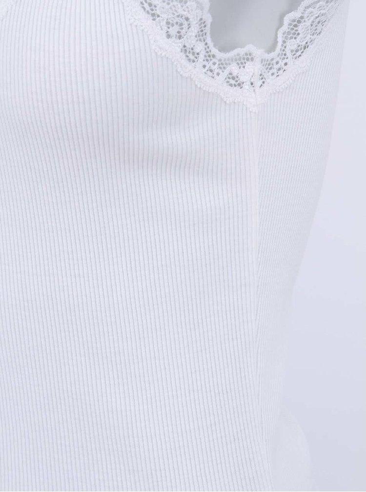 Biele tielko s čipkovanými detailmi VERO MODA Lena
