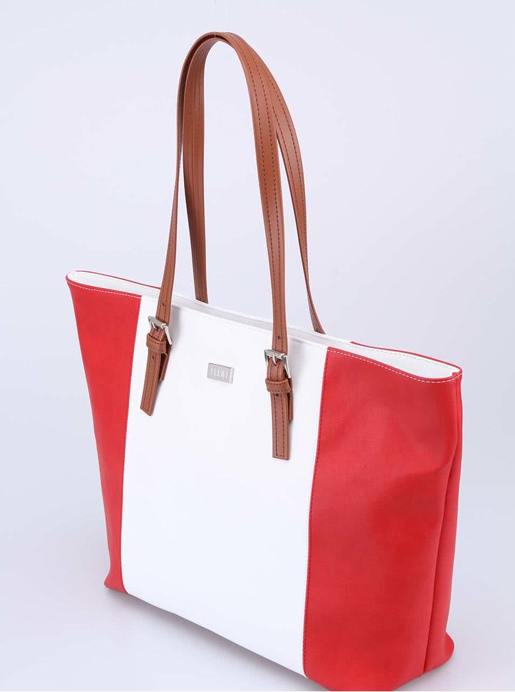 Bielo-červená kabelka s hnedými uškami OJJU