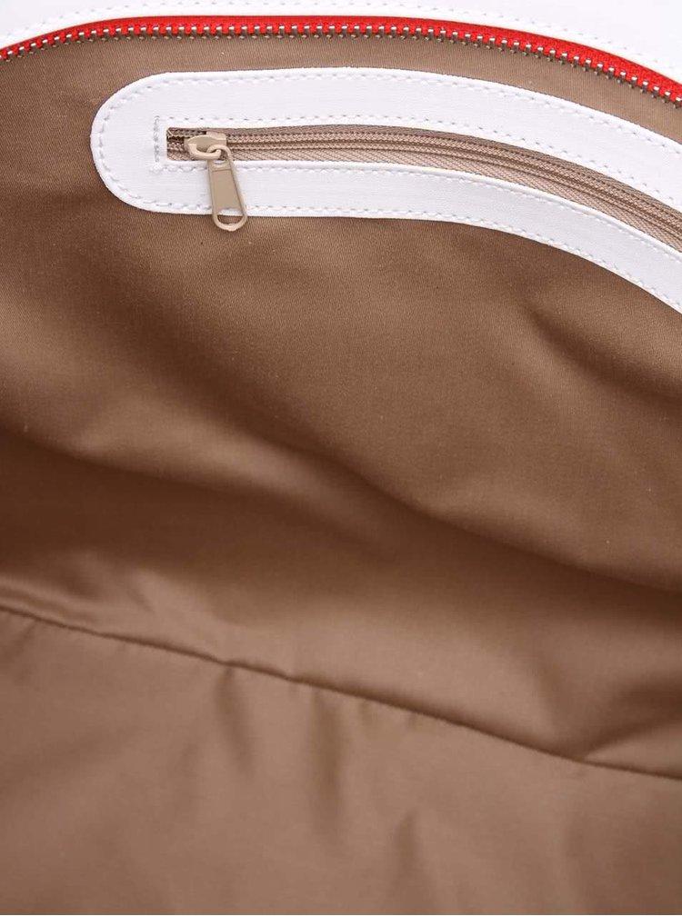 Geantă de mână albă&roșu cu mânere maro de la OJJU