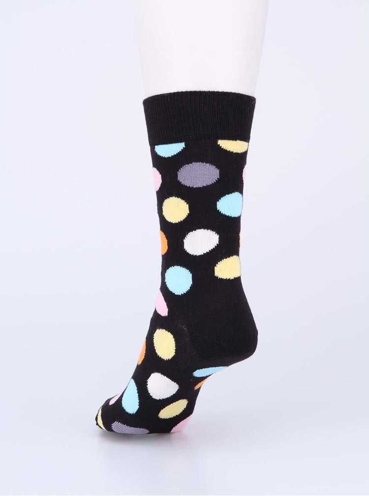 Ćierne unisex ponožky s farebnými bodkami Happy Socks Big Dots