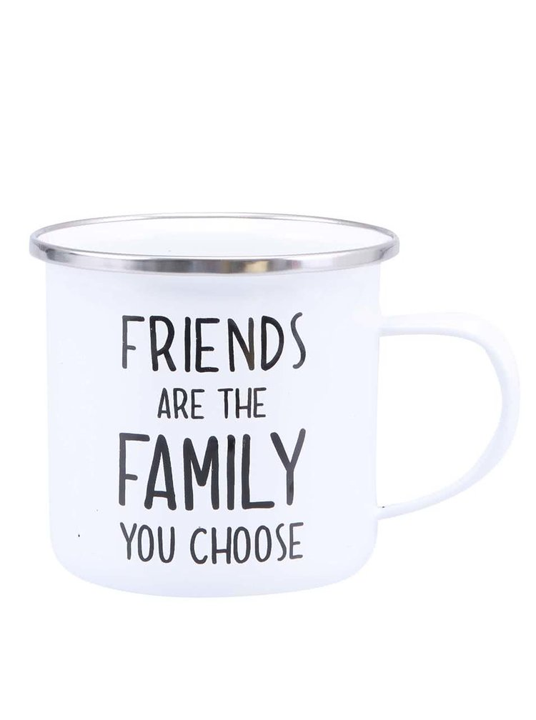 "Cana emailata alba ""Friends Are The Family You Choose"" de la Sass & Belle"