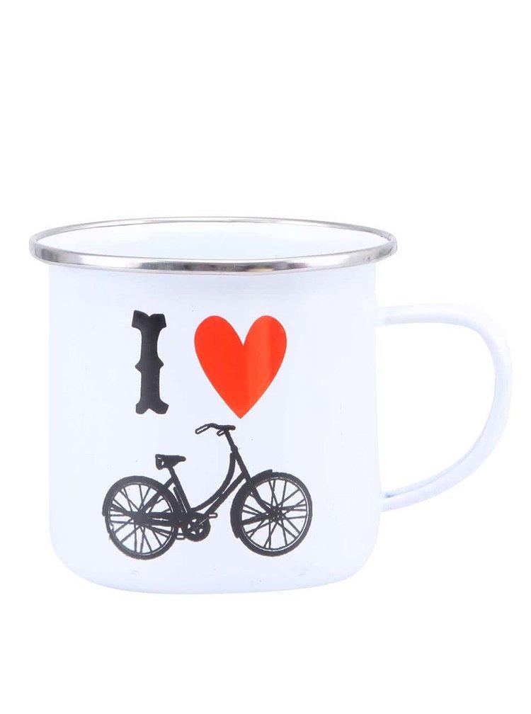 Biely plechový hrnček Sass & Belle I love Bicycle