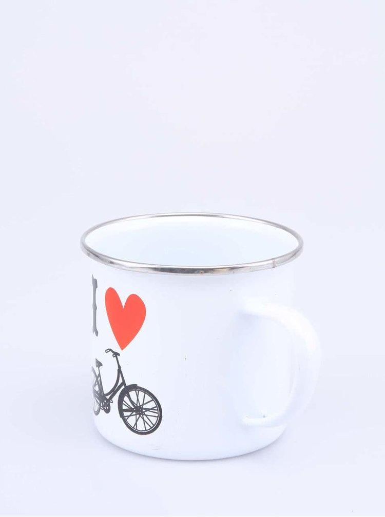 Bílý plechový hrnek Sass & Belle I love Bicycle
