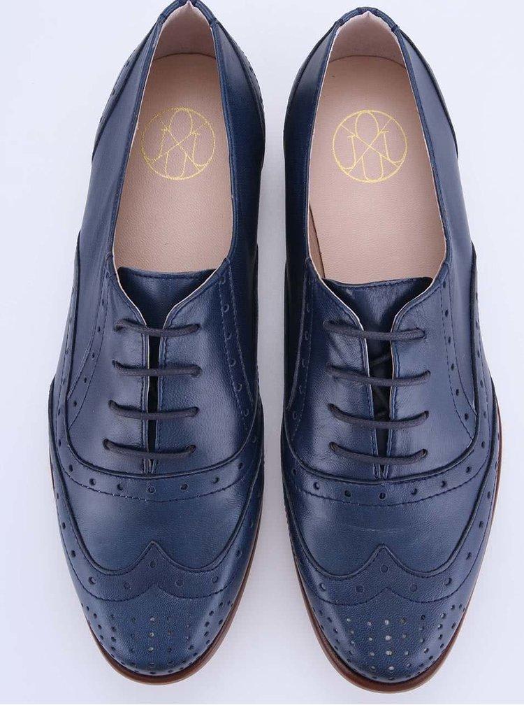 Pantofi din piele albastru închis de la OJJU
