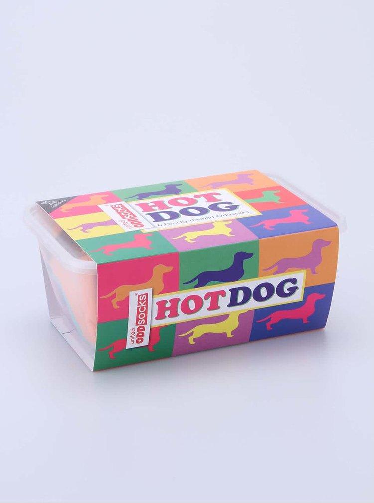 Súprava šiestich farebných dámskych ponožiek s jazvečíkmi Oddsocks Hotdog