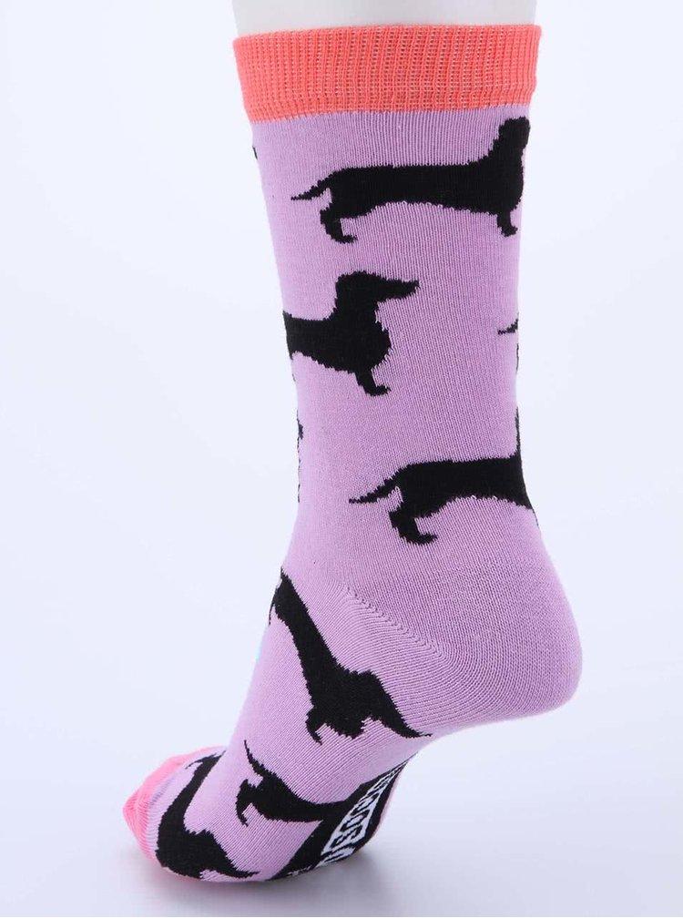 Sada šesti dámských ponožek v tyrkysové a fialové barvě s jezevčíky Oddsocks Hotdog