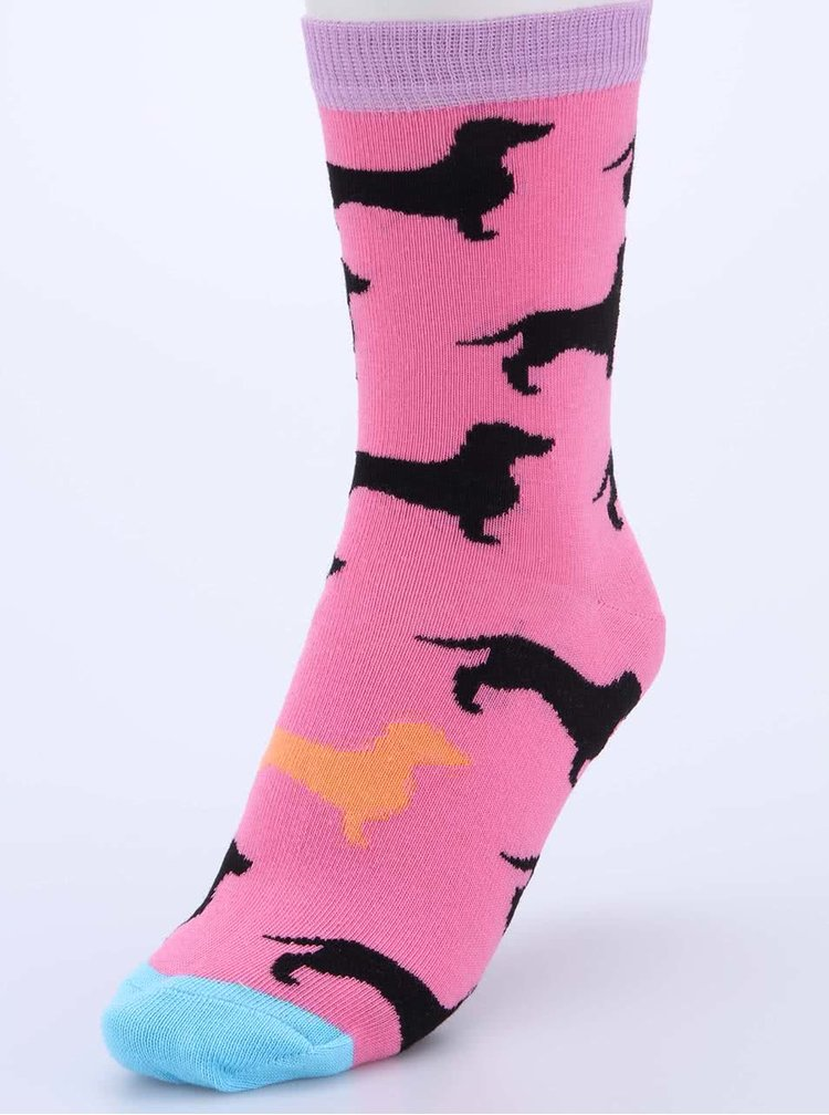 Sada tří dámských ponožek v tyrkysové a růžové barvě s jezevčíky Oddsocks Flo