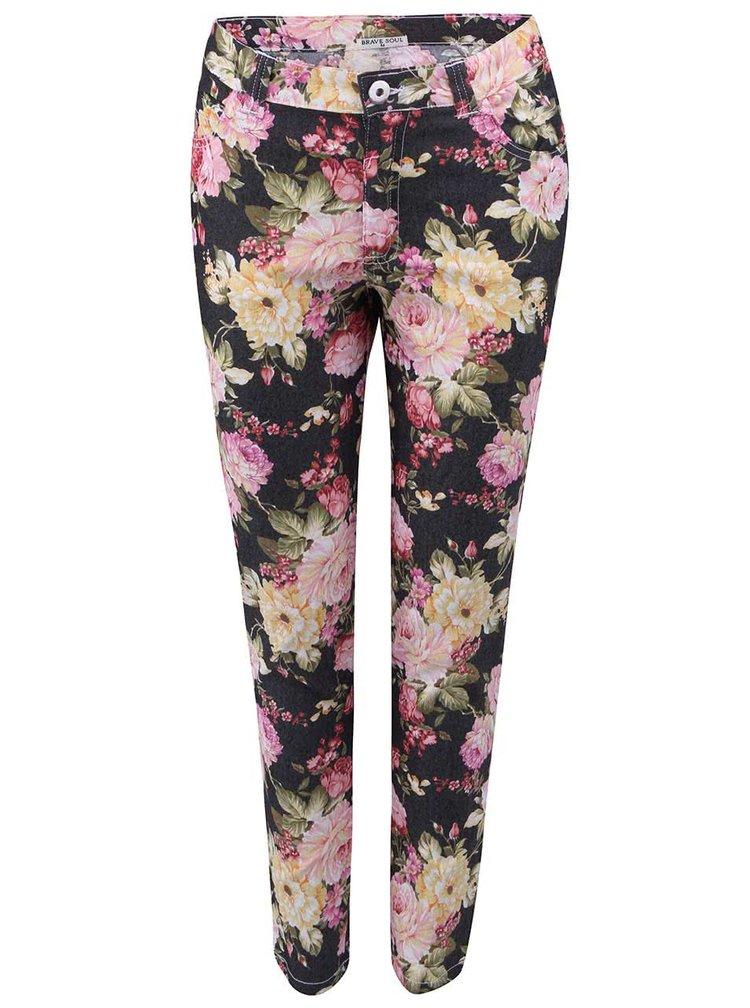 Pantaloni Jeanie negri cu model floral de la Brave Soul