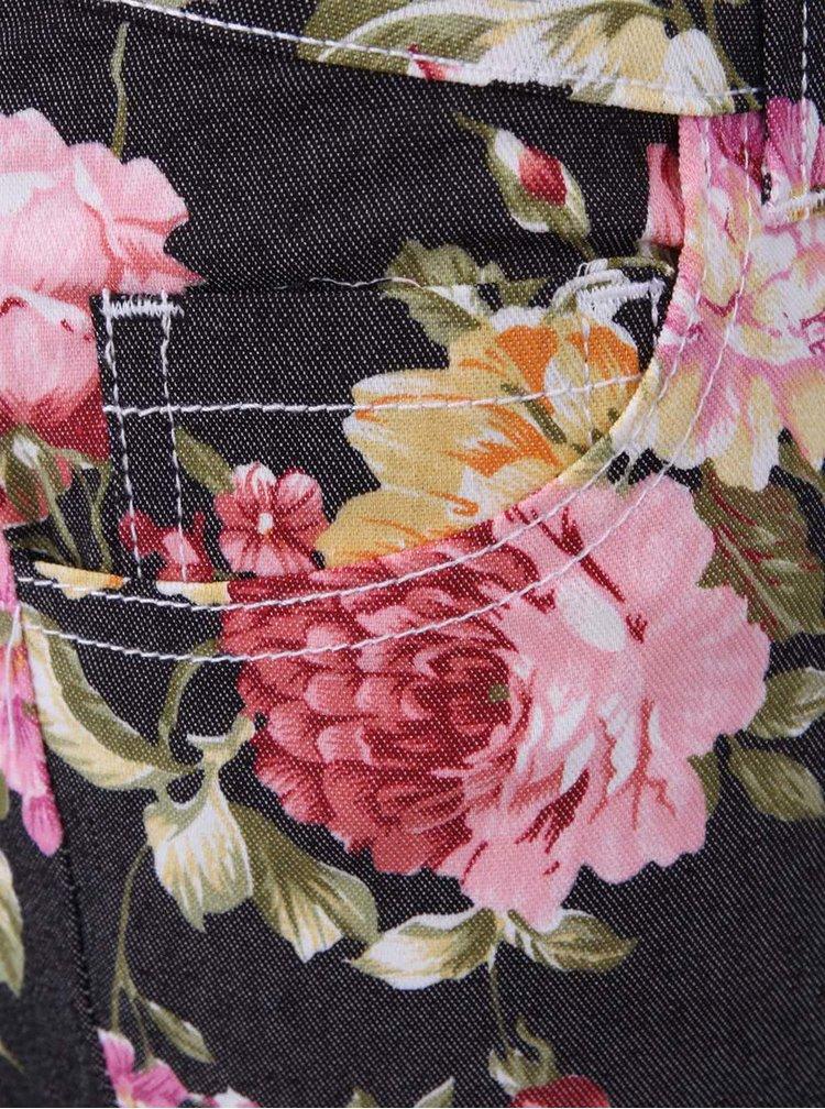 Čierne nohavice s kvetovanou potlačou Brave Soul Jeanie